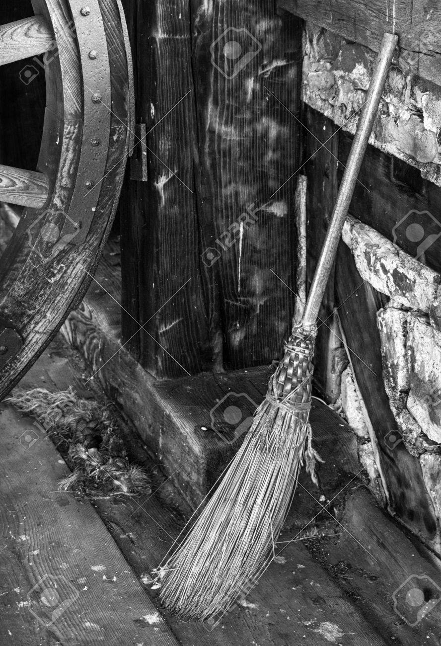 Old Fashioned Broom in Black and White